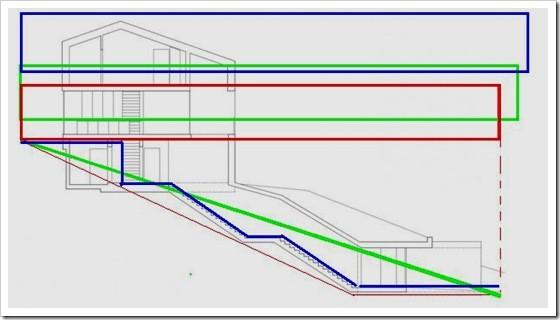 разрез дома и лестниц на склоне 1